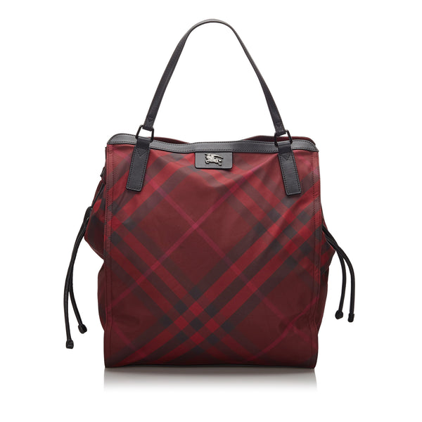 Red Burberry Mega Check Nylon Buckleigh Tote Bag