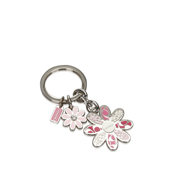 Pink Coach Metal Floral Key Ring
