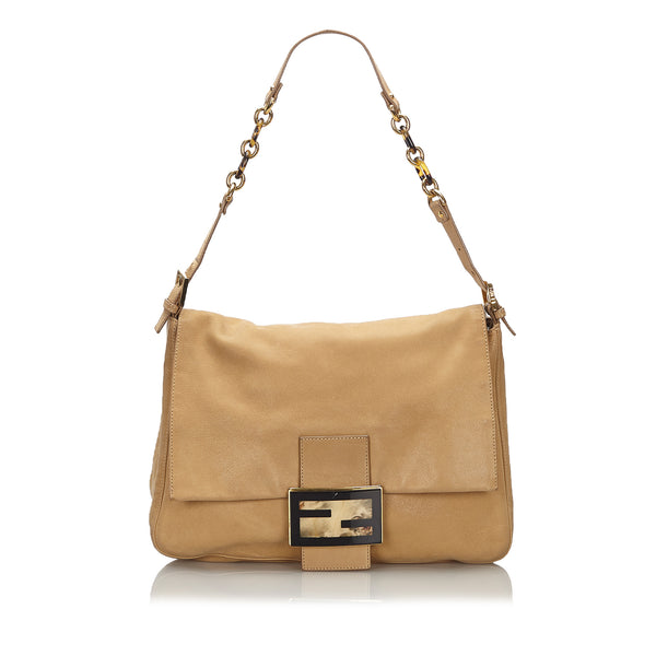 Brown Fendi Large Leather Chain Mamma Forever Bag