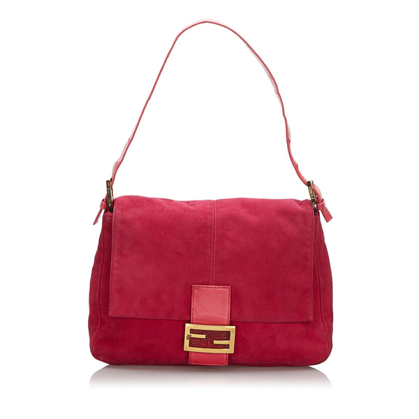 Pink Fendi Suede Mamma Forever Shoulder Bag