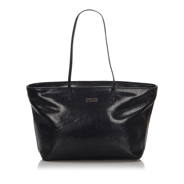 Black Fendi Embossed Leather Tote Bag