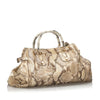 Brown Gucci Python Pop Bamboo Handbag