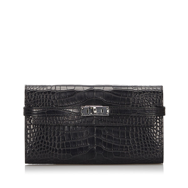 Black Hermes Alligator Kelly Wallet