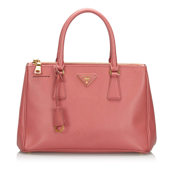 Pink Prada Leather Saffiano Galleria Handbag