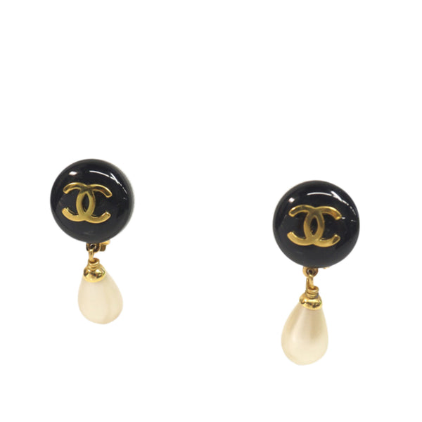 Black Chanel Resin CC Drop Earrings