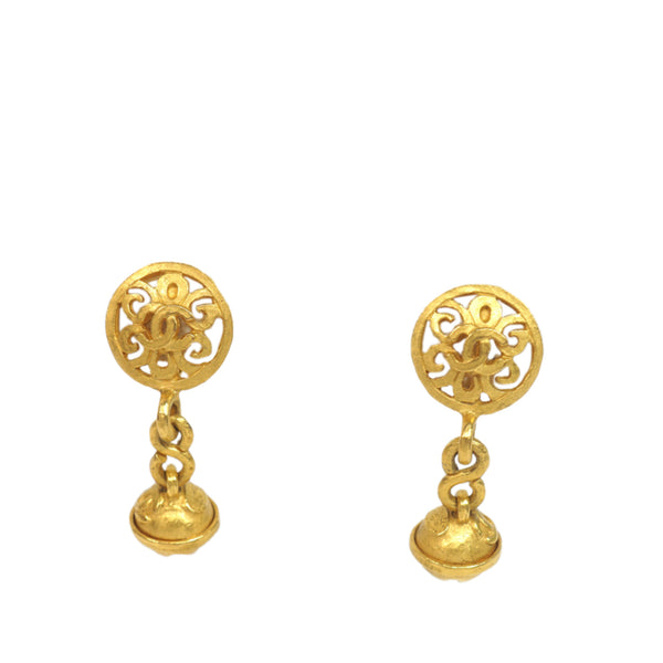 Gold Chanel CC Drop Earrings