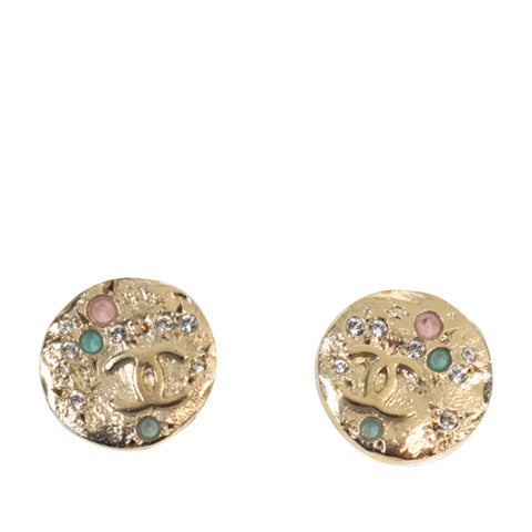 Gold Chanel CC Round Multicolor Earrings