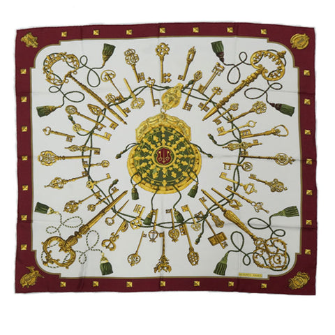 Red Hermes Les Clefs Silk Scarf