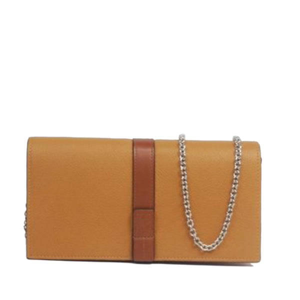 Brown Loewe Leather Wallet On Chain Bag