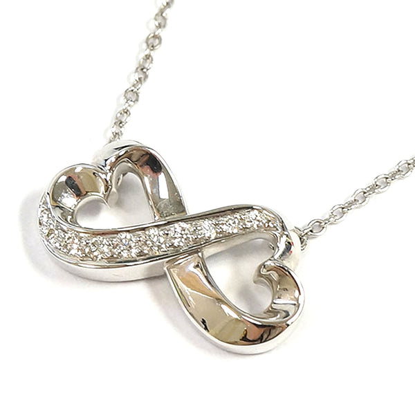 Silver Tiffany Double Loving Heart Necklace