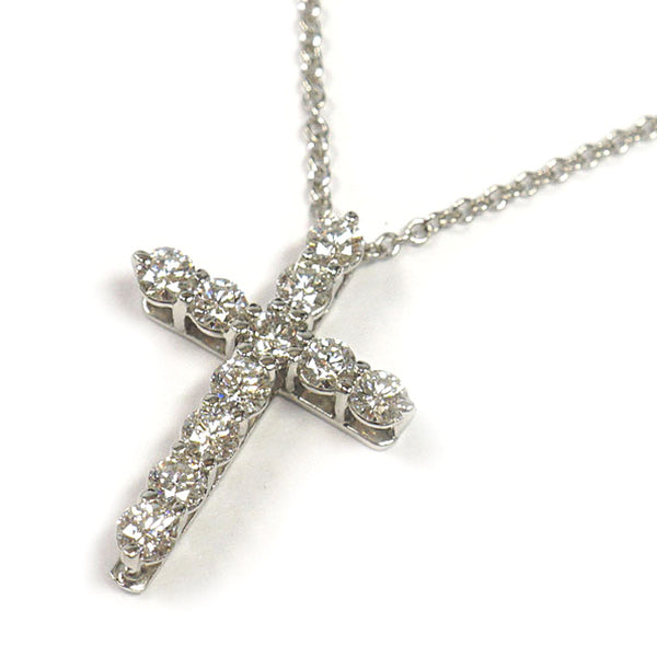 Silver Tiffany Diamond Cross Necklace