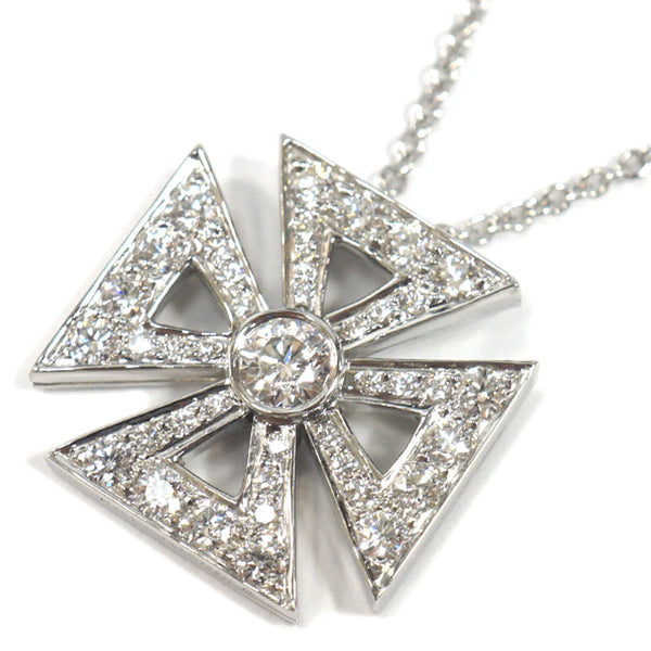 Silver Tiffany Platinum Maltese Cross Pendant Necklace