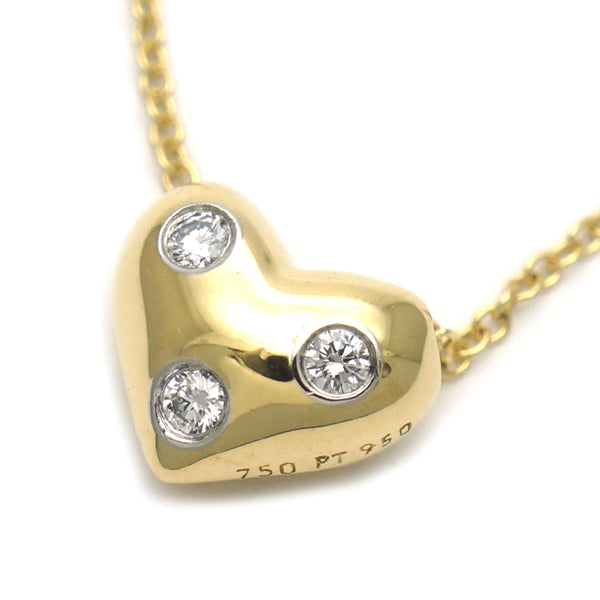 Gold Tiffany 18K Diamond Heart Pendant Necklace