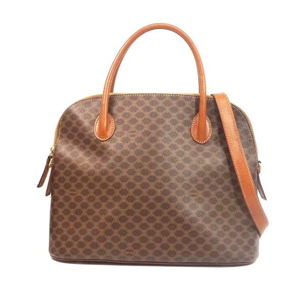 Brown Celine Macadam Satchel Bag