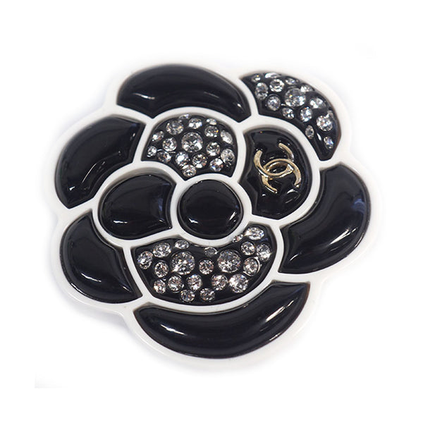 Black Chanel Camellia Brooch