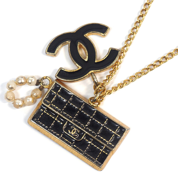 Gold Chanel CC Flap Charm Necklace