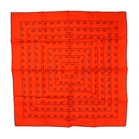Orange Hermes Allures Silk Pocket Square