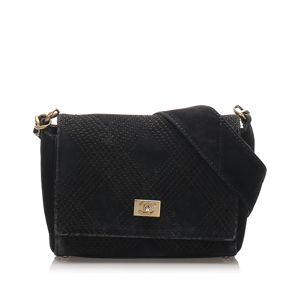 Black Chanel Wild Stitch Suede Shoulder Bag
