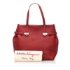 Red Ferragamo Gancini Leather Tote Bag