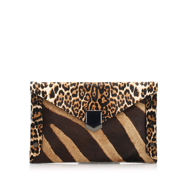 Brown Jimmy Choo Pony Hair Clutch Bag