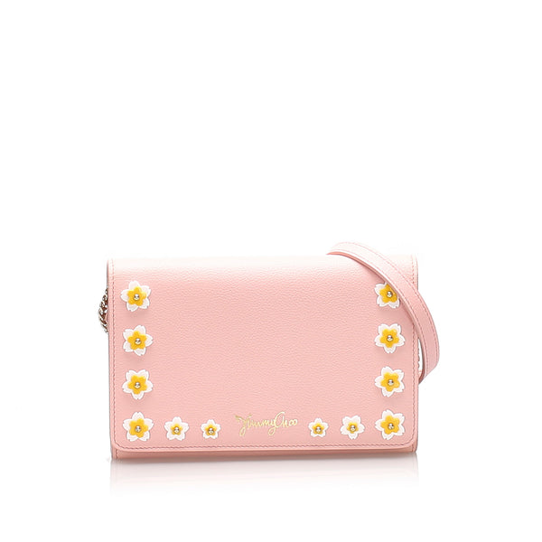 Pink Jimmy Choo Leather Crossbody Bag