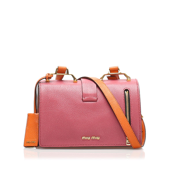 Pink Miu Miu Mini Madras Crossbody Bag