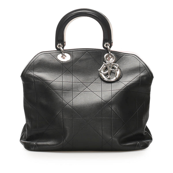 Black Dior Cannage Granville Leather Satchel Bag