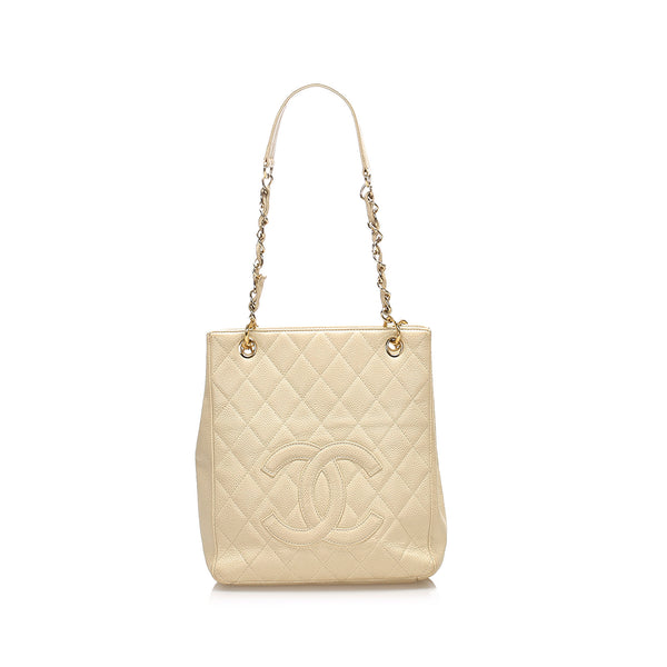 White Chanel Caviar Petite Shopping Tote Bag