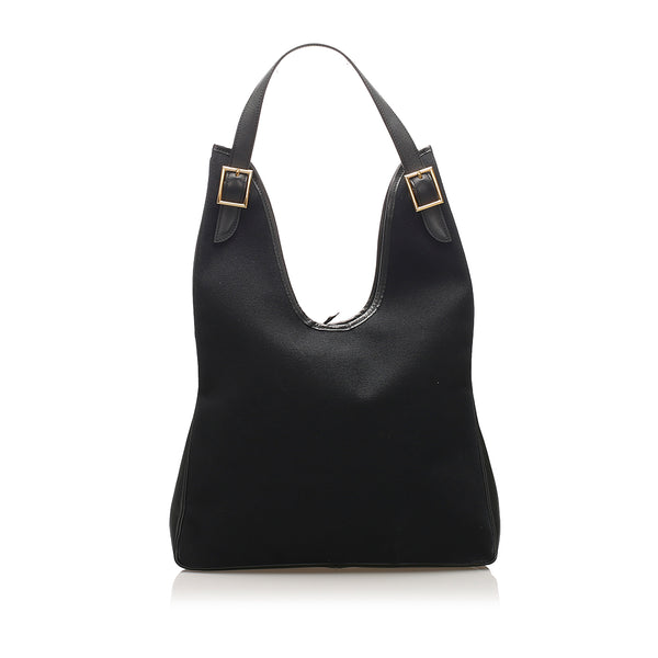 Black Hermes Togo Massai Canvas Shoulder Bag