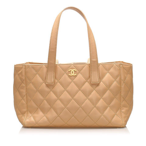 Tan Chanel CC Wild Stitch Leather Tote Bag