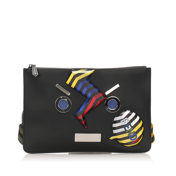 Black Fendi Face No Word Leather Clutch Bag