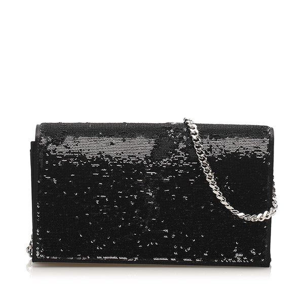 Black YSL Monogram Sequined Wallet on Chain