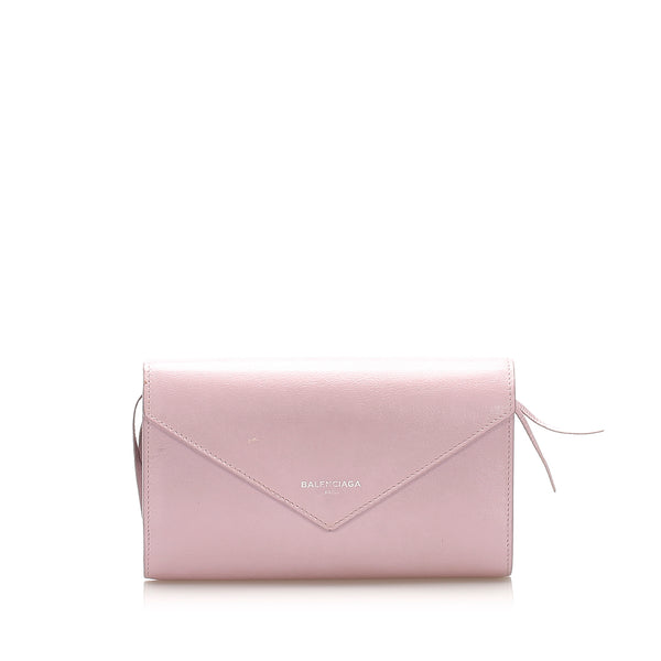 Pink Balenciaga Papier Leather Long Wallet