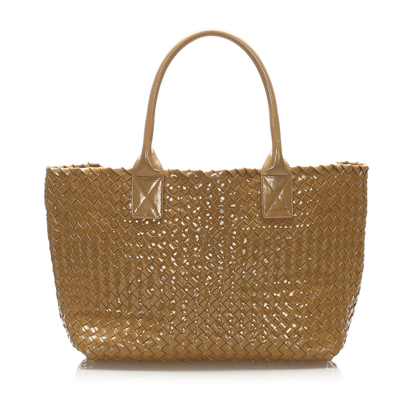 Brown Bottega Veneta Intrecciato Patent Leather Tote Bag