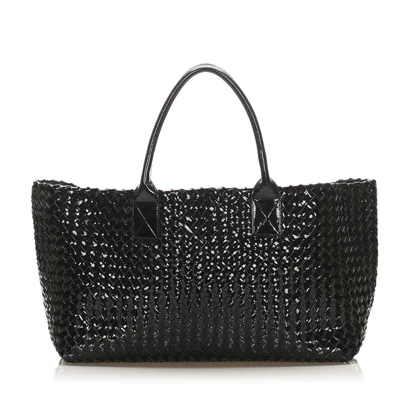 Black Bottega Veneta Intrecciato Capri Patent Leather Tote Bag