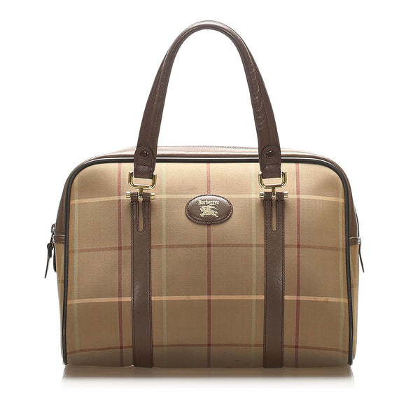 Brown Burberry Plaid Canvas Handbag Bag