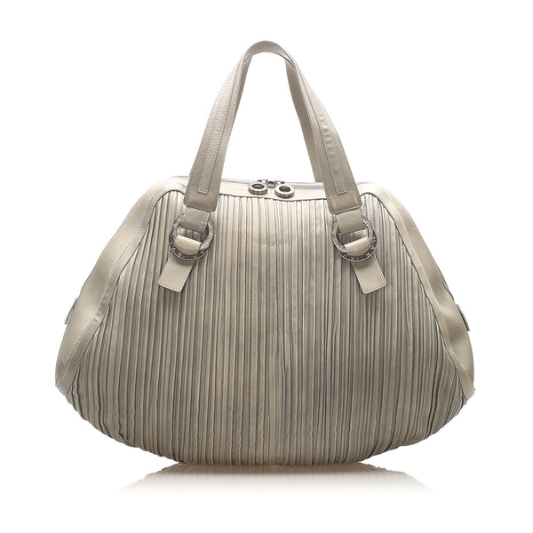 Gray Bvlgari Lambskin Leather Handbag Bag