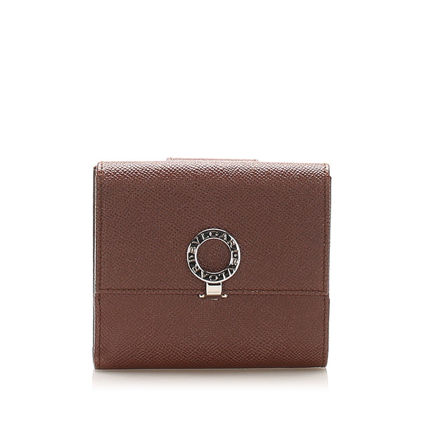 Brown Bvlgari B.Zero1 Leather Small Wallet