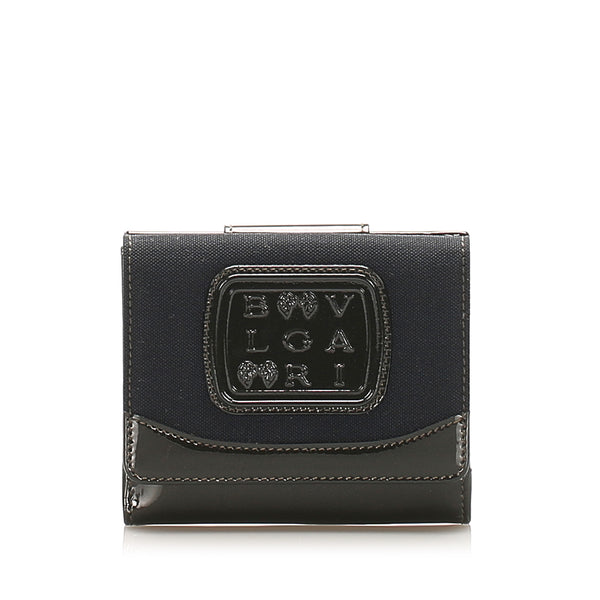 Black Bvlgari Leather Bi-fold Small Wallet