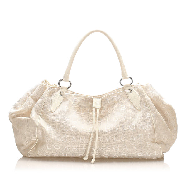 White Bvlgari Logomania Canvas Tote Bag