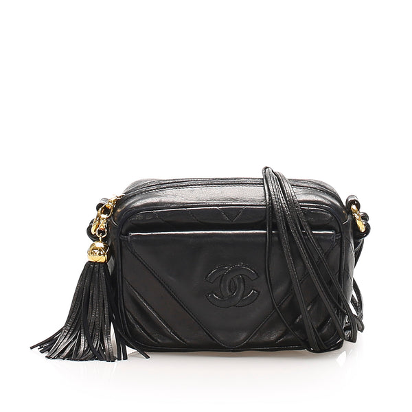 Black Chanel CC Lambskin Leather Crossbody Bag