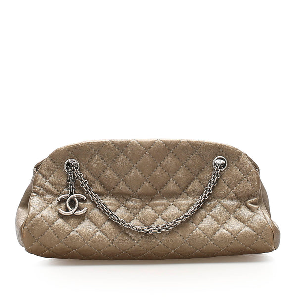Brown Chanel Mademoiselle Leather Bowling Bag