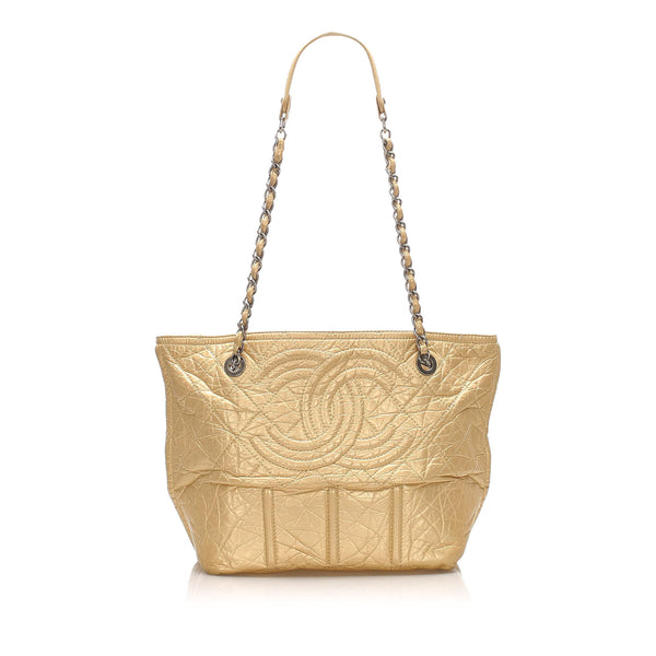 Gold Chanel CC Leather Tote Bag