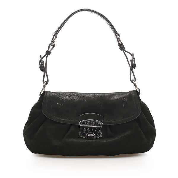 Black Prada Nubuck Leather Shoulder Bag