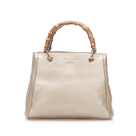 Gold Gucci Bamboo Shopper Leather Handbag Bag