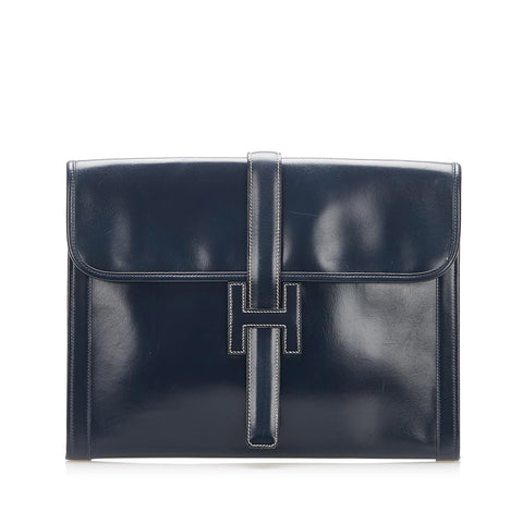 Blue Hermes Jige GM Leather Clutch Bag