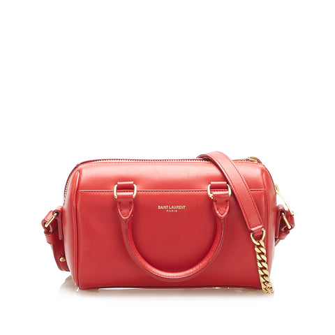 Red YSL Classic Duffle Leather Satchel Bag