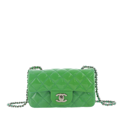 Green Chanel Classic Mini Patent Leather Single Flap Bag