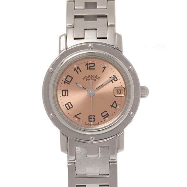 Silver Hermes Clipper Stainless Steel Watch