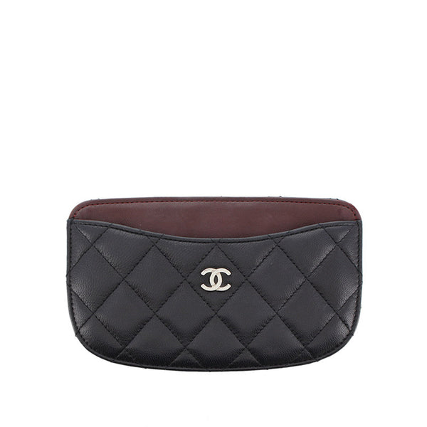 Black Chanel Matelasse Lambskin Leather Coin Pouch